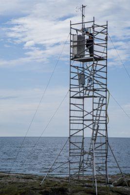 Aerosol eddy covariance tower at ICOS Östergarnsholm